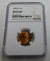 1947- D LINCOLN CENT NGC MINT STATE 66 RD