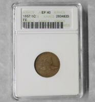 1857 ANACS EF 40 FLYING EAGLE 1 CENT COIN, EXTRA FINE FLYING EAGLE PENNY