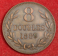1889 GUERNSEY  BRITISH DEPENDENCY . LARGE COPPER 8 DOUBLES COIN. AXF