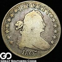 1807 DRAPED BUST HALF DOLLAR, TOUGH EARLY SILVER TYPE
