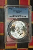 1971-S DWIGHT D. EISENHOWER IKE SILVER DOLLAR PCGS MINT STATE 65    WHITE COIN