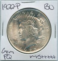 1922-P PEACE DOLLAR UNCIRCULATED US MINT COIN PQ GEM SILVER COIN BU UNC MS