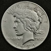 1934-S PEACE SILVER DOLLAR.  HIGH GRADE DETAIL.  130246