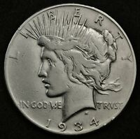 1934-S PEACE SILVER DOLLAR.  HIGH GRADE DETAIL.  130254