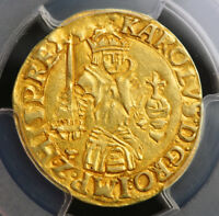 1555 SPANISH NETHERLANDS BRABANT CHARLES V. GOLD REAL D'OR COIN. PCGS AU 53