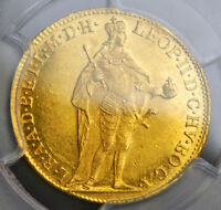 1790 KINGDOM OF HUNGARY EMPEROR LEOPOLD II. GOLD DUCAT COIN. PCGS MS 61