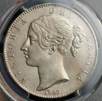 1847 GREAT BRITAIN QUEEN VICTORIA. LARGE SILVER CROWN COIN.   PCGS AU
