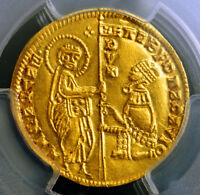 1346 ITALY DUCHY OF ACHAIA ROBERT OF ANJOU. GOLD ZECCHINO COIN. PCGS MS 61