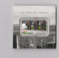 TANZANIA 2014 THREE WISE MONKEYS 1500 SHILLINGS 1OZ COLOUR SILVER COIN BAR PROOF