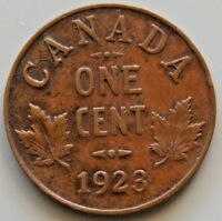 1923   KEY DATE   CANADA CANADIAN SMALL 1 CENT COIN   KING G