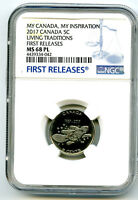 2017 CANADA 5 CENT NICKEL NGC MS68 PL LIVING TRADITIONS FIRS