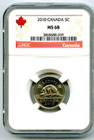2010 CANADA 5 CENT NICKEL NGC MS68  HIGHEST TOP POP REGISTRY