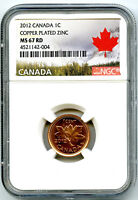 2012 CANADA CENT NGC MS67 RD NON MAGNETIC ZINC LAST YEAR TOP