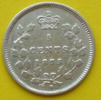 1875 SD CANADA SMALL SILVER 5 CENTS   KEY DATE