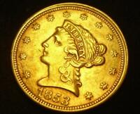 1853 $2 1/2 LIBERTY HEAD GOLD COIN QUARTER EAGLE WITH DIE CR