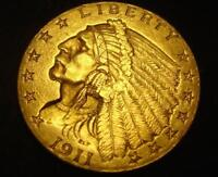 1911 $2 1/2 INDIAN HEAD GOLD COIN QUARTER EAGLE BU MS