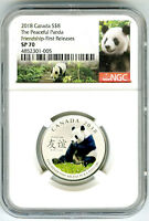 2018 $8 CANADA SILVER NGC SP70 PANDA PEACEFUL FRIENDSHIP FIR
