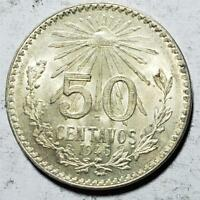 MEXICO 50 CENTAVOS 1945 UNCIRCULATED WITH LUSTER .1929 OUNCE