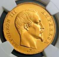 1857 FRANCE  2ND EMPIRE  NAPOLEON III. LARGE GOLD 50 FRANCS COIN. NGC MS 63
