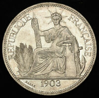 1903 FRENCH INDO CHINA. BEAUTIFUL SILVER PIASTRE  TRADE DOLLAR  COIN. AU UNC