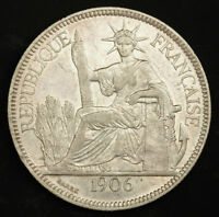 1906 FRENCH INDO CHINA. BEAUTIFUL SILVER PIASTRE  TRADE DOLLAR  COIN. XF AU