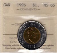 CANADA 1996 TWO DOLLARS ICCS MS 65 CERT. YW 936