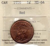 CANADA 1916 LARGE CENT ICCS MS 64 RED CERT. XN 422