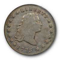 1795 $1 3 LEAVES FLOWING HAIR DOLLAR PCGS VF  FINE DETAILS CLEANED