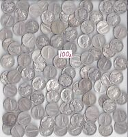 100 MERCURY DIMES   $10.00 FACE VALUE 90  SILVER  MIXED DATE