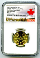 2018 CANADA MAPLE LEAF BRASS NGC MS67 TEST TOKEN  FIRST RELE