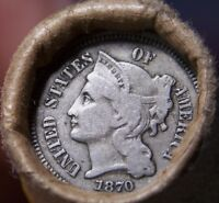 1870 3 CENT NICKEL/1897 INDIAN CENT GREAT END COINS ANTIQUE ROLL SHOWN 7507