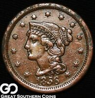 1856 LARGE CENT, BRAIDED HAIR, EARLY DATE COPPER