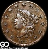 1826 LARGE CENT, CORONET HEAD,  CHOICE AU/UNC EARLY COPPER, SHIPS FREE