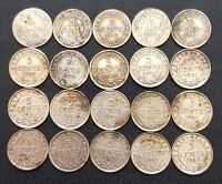 LOT OF 20X NEWFOUNDLAND SILVER 5 CENT COINS   DATES: 1894 TO