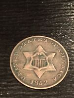 1852 SILVER 3 CENT PIECE F
