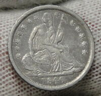 1840 SEATED LIBERTY HALF DIME H10C NO DRAPERY -  COIN, SHIPS FREE 6931