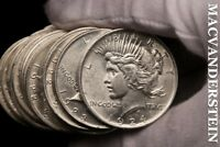 TWENTY COIN ROLL, MIXED PEACE DOLLARS- LUSTROUS  SILVER  BL44