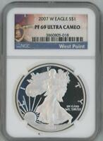 2007 W SILVER EAGLE DOLLAR PROOF NGC PF 69 ULTRA CAMEO WEST POINT LABEL