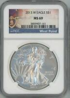 2013 W SILVER EAGLE DOLLAR NGC PF 69 WEST POINT LABEL