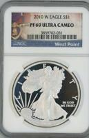 2010 W SILVER EAGLE DOLLAR PROOF NGC PF 69 ULTRA CAMEO WEST POINT LABEL