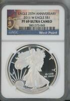 2011 W SILVER EAGLE DOLLAR PROOF NGC PF 69 ULTRA CAMEO WEST POINT LABEL