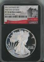 2017 W SILVER EAGLE DOLLAR NGC PF 70 WEST POINT ULTRA CAMEO FIRST DAY