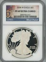 2008 W SILVER EAGLE DOLLAR PROOF NGC PF 69 ULTRA CAMEO WEST POINT LABEL