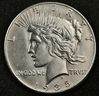 1935 PEACE SILVER DOLLAR.   A.U. DETAIL.  133704