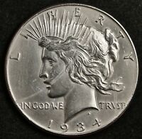 1934-P PEACE SILVER DOLLAR.   A.U. DETAIL.  133702