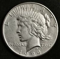 1924-S PEACE SILVER DOLLAR.   HIGH GRADE DETAIL.  133701