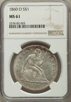 1860-O US SEATED LIBERTY SILVER DOLLAR $1 - NGC MINT STATE 61