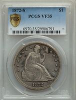 1872-S US SEATED LIBERTY SILVER DOLLAR $1 - PCGS VF35