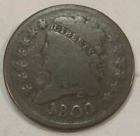 1809 VG CLASSIC HEAD US HALF CENT.  LOT1 DIES ROTATED ABOUT 160 DEGREES