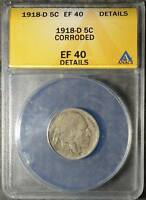 1918-D BUFFALO NICKEL ANACS EF40 EXTRA FINE 40  COIN INDIAN HEAD 5C SHIPS FREE